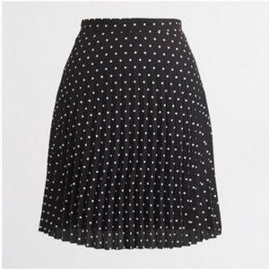 J. Crew black and white pleated polka dot skirt